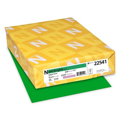 Astrobrights Colored Paper, 24 lbs., 8.5 x 11, Gamma Green, 500 Sheets/Ream (22541)