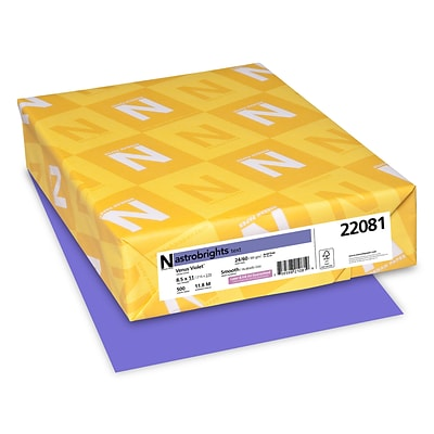 Astrobrights Colored Paper, 24 lbs., 8.5 x 11, Venus Violet, 500 Sheets/Ream (22081)