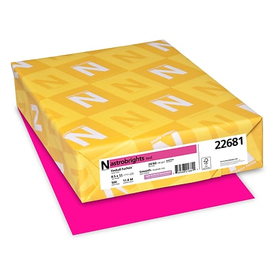Astrobrights Colored Paper, 24 lbs., 8.5 x 11, Fireball Fuchsia, 500 Sheets/Ream (22681/21688)
