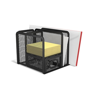 TRU RED™ 5 Compartment Wire Mesh Accessory Holder, Matte Black (TR57532)