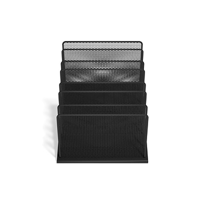 TRU RED™ 7 Compartment Wire Mesh File Organizer, Matte Black (TR57559)
