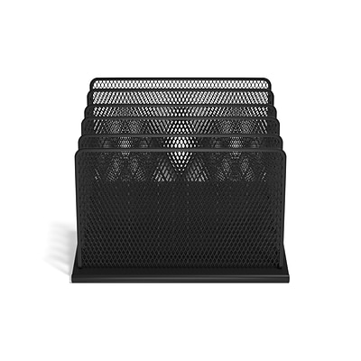 TRU RED™ 5 Compartment Wire Mesh File Organizer, Matte Black (TR57554)