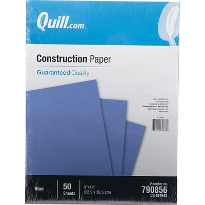 Quill Brand® 9 x 12 Construction Paper, Blue, 50 Sheets/Pack (790856)