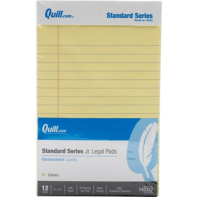 Pack of 12 School Smart Letter Size Legal Pad 50 Sheets Each Canary