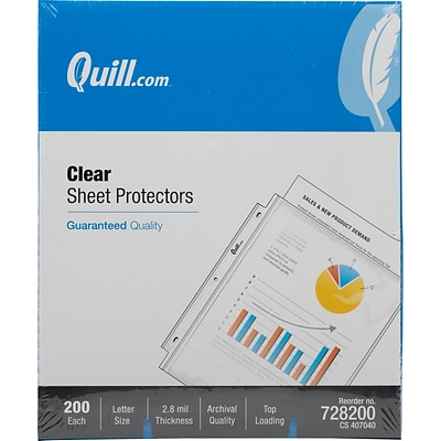 Quill Brand® Top-Loading Sheet Protectors, Clear, 2.8 Mil, 200/Box (35166-QCC)