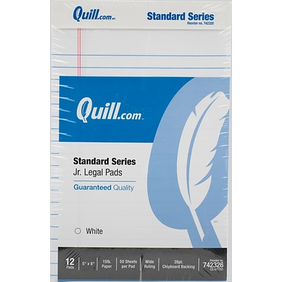Quill Brand® Standard Series Legal Pad, 5 x 8, Wide Ruled, White, 50 Sheets/Pad, 12 Pads/Pack (742326)