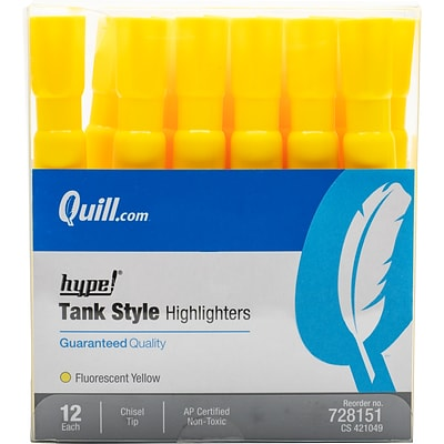 Quill Brand® Tank Style Highlighters, Chisel Tip, Fluorescent Yellow, Dozen (10401-QCC)