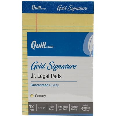 Quill Brand® Gold Signature Premium Series Legal Pad, 5x 8, Legal Ruled, Canary Yellow, 50 Sheets/Pad, 12 Pads/Pack (742274)