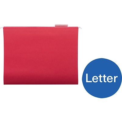 Quill Brand® Hanging File Folders, 1/5-Cut, Letter Size, Red, 25/Box (7387QRD)