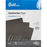 Quill Brand® 9 x 12 Construction Paper, Black, 50 Sheets/Pack (790857)