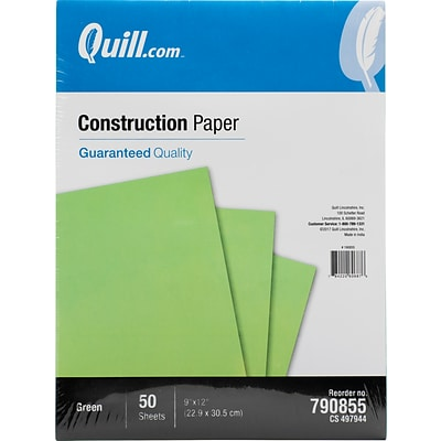 Quill Brand® 9 x 12 Construction Paper, Green, 50 Sheets/Pack (790855)
