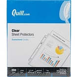 Quill Brand® Top-Loading Heavyweight Sheet Protectors, 8-1/2 x 11, Clear, 200/Box (733200)
