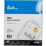 Quill Brand® Top-Loading Mediumweight Sheet Protectors, 8-1/2 x 11, Clear, 100/Box (728100)