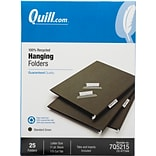 Quill Brand®  100% Recycled Hanging File Folders; 1/5-Cut, Letter Size, Green, 25/Box (7Q5215)