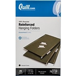 Quill Brand® Premium Reinforced 100% Recycled Hanging File Folders, 1/3-Cut, Legal Size, Green, 25/B