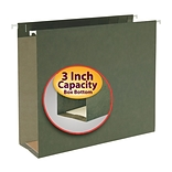 Smead Box Bottom Hanging File Folders, 3 Expansion, Letter Size, Standard Green, 25/Box (64279)