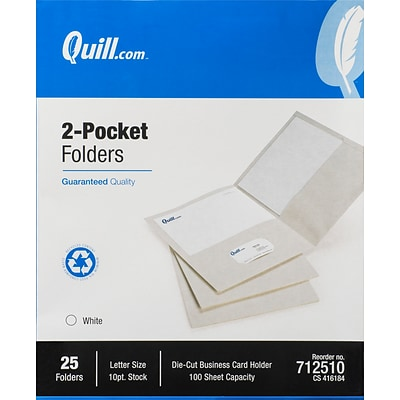 Quill Brand® 2-Pocket Folders, White, 25/Box (712510)