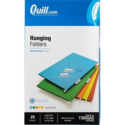 Quill Brand® Hanging File Folders, 1/5-Cut, Legal Size, Assorted, 25/Box (7389QAD)