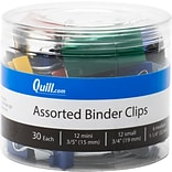 Quill Brand® Mini/Small/Medium Binder Clips, Assorted Colors, 30 Clips/Tub (11509-CC)