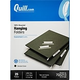 Quill Brand® 100% Recycled 3-Tab Hanging File Folders, Letter Size, Green, 25/Box (7Q5213)