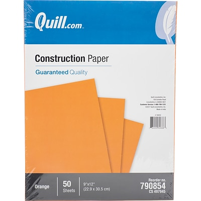 Quill Brand® 9 x 12 Construction Paper, Orange, 50 Sheets/Pack (790854)