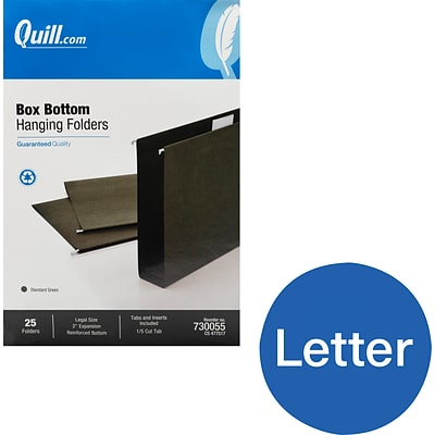 Quill Brand® Reinforced 5-Tab Box Bottom Hanging File Folders, 2 Expansion, Legal Size, Dark Green, 25/Box (730055)