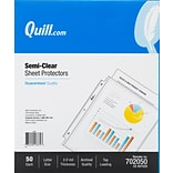 Quill Brand® Top-Loading Lightweight Sheet Protectors, 8-1/2 x 11, Semi-Clear, 50/Box (702050)