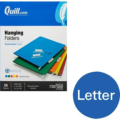 Quill Brand® Hanging File Folders, 1/5-Cut, Letter Size, Assorted, 25/Box (7387QAD)