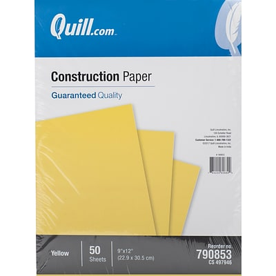 Quill Brand® 9 x 12 Construction Paper, Yellow, 50 Sheets/Pack (790837)