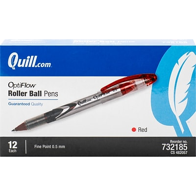 Quill Brand® Rollerball Pens, Fine Point, Red, Dozen (32185-QL)