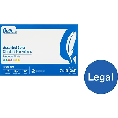 Quill Brand® File Folders, Assorted Tabs, 1/3-Cut, Legal, Assorted Colors, 100/Box (741013AD)