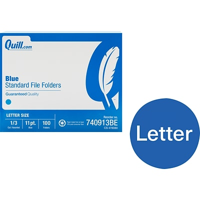 Quill Brand® File Folders, Assorted Tabs, 1/3-Cut, Letter Size, Blue, 100/Box (740913BE)
