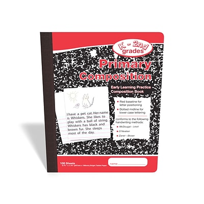 TRU RED™ Composition Notebook, 7.5 x 9.75, Primary Ruled, 100/Sheets, Red/Marble (42079)