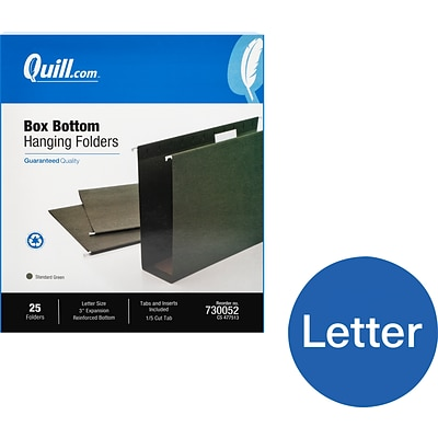 Quill Brand® Box Bottom Hanging File Folders, 3 Expansion, Letter Size, Dark Green, 25/Box (730052)