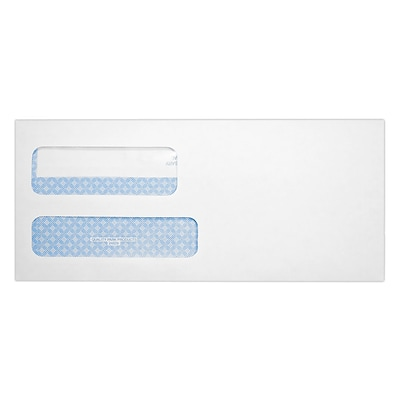 Quality Park Redi-Seal Security Tinted #9 Double Window Envelope, 3 7/8 x 8 13/16, White Wove, 250/Pack (24529-250)