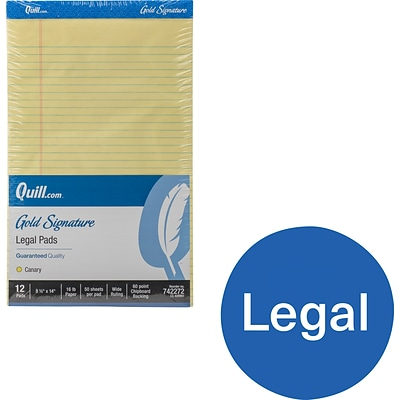Quill Brand® Gold Signature Premium Series Legal Pad, 8-1/2 x 14, Wide Ruled, Yellow, 50 Sheets/Pad, 12 Pads/Pack (742272)