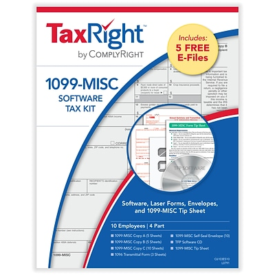 ComplyRight TaxRight 2020 1099-MISC 4-Part Laser Tax Form Kit with Software and Envelopes, 10/Pack (SC6103ES10)