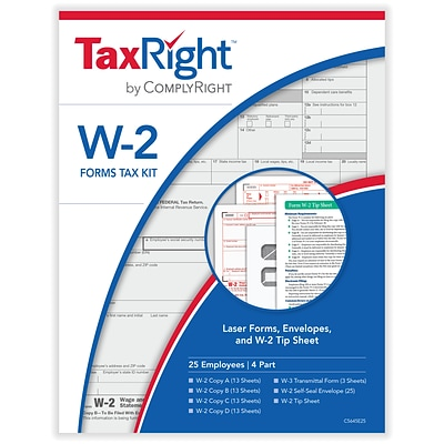 ComplyRight TaxRight 2020 W-2 4-Part Laser Tax Form Kit with Envelopes, 25/Pack (SC5645E25)