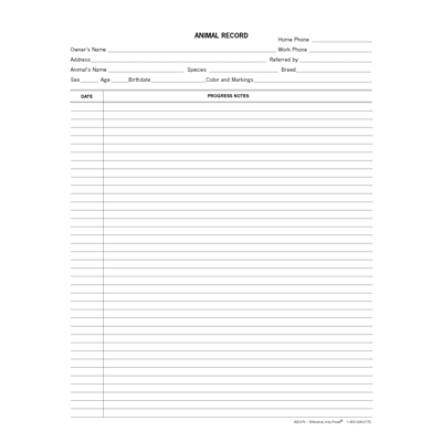 Medical Arts Press® Narrow Ruled Veterinary Animal Record Progress Notes, 250/Pack  (20474)
