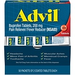 Advil Ibuprofen Pain Reliever, 200mg, 2/Packet, 50 Packets/Box (15000-001)