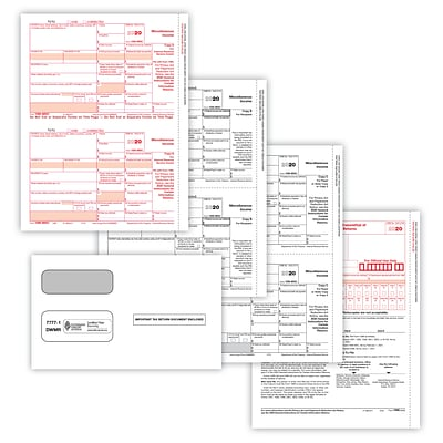 ComplyRight 2020 1099-MISC Tax Forms, White/Red/Black, 50/Pack (95914E)