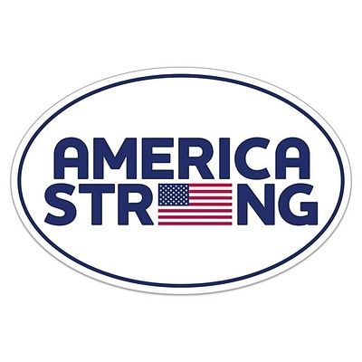 Deluxe America Strong Bumper Sticker, 4 x 6 Oval, 250/Pack