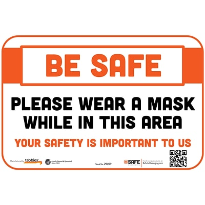 BeSafe Messaging Social Distancing Repositionable Wall Decal 6x9 Please Wear a Mask While In This