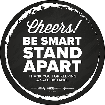 BeSafe Messaging Social Distancing Floor Decal 12x12 Cheers! Be Smart Stay Apart 6/Pack (79085)