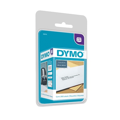 Dymo LabelWriter Address 30572 Label Printer Labels, 1.13W, Black On White, 260 Labels/Roll, 2 Rolls/ Pack