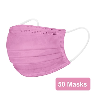 Disposable Earloop Face Mask, Pink, 50/Box (FIK0962R)