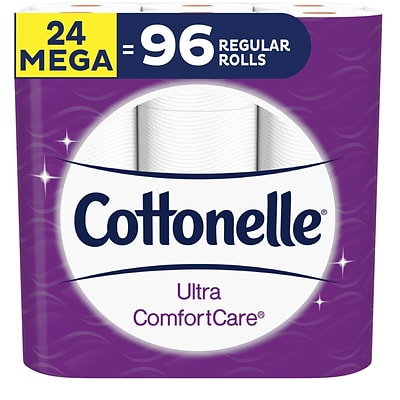 Cottonelle Ultra ComfortCare Mega 2-Ply Standard Toilet Paper, White, 284 Sheets/Roll, 24 Rolls/Case (48793)