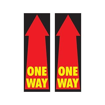 Cosco Floor Decal One Way, PVC, 4 x 12, Red/Black, 2/Pack (098491PK2)