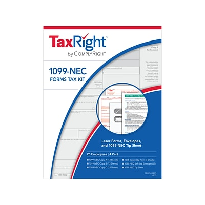 ComplyRight TaxRight 2020 1099-NEC Tax Form Kit, 25/Pack (NECSC6103E25)
