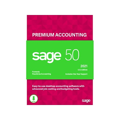 Sage 50 2021 Premium Accounting U.S. Edition for 2 Users, Windows, Download (PPA22021ESDCSRT)